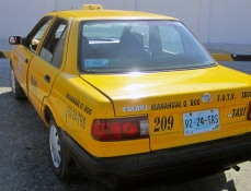 The taxi that drove us back to our port